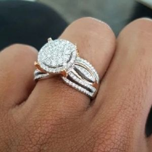 Jewelry - Sophisticated Halo Round  Gold Silver CZ Pave Ring